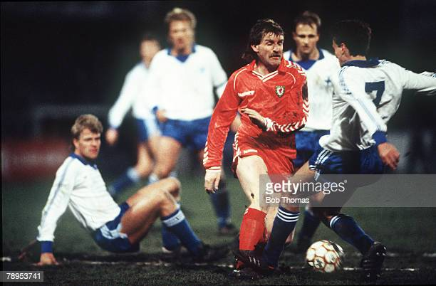 1st April 1987, European Championship at Wrexham Wales 4 v Finland 0, Wales' Robbie James clashes with Finland's Holmgren, Robbie James won 47 Wales...