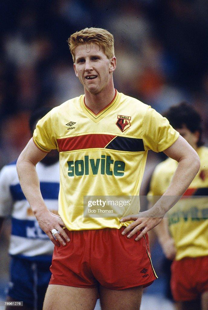 1st April 1988, Division 1, Iwan Roberts, Watford striker 1985-1989
