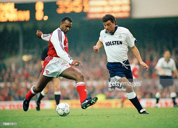 1st December 1991 Division 1 Arsenal 2 v Tottenham Hotspur 0 Arsenal's David Rocastle left is challenged by Tottenham Hotspur's Paul Stewart