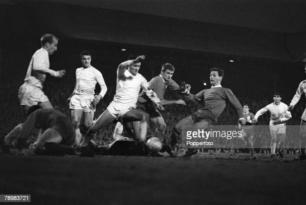 1st January 1966 Division 1 Liverpool 2 v Manchester United 1 at Anfield Liverpool's Gordon Milne scores the winning goal in a crowded penalty area...