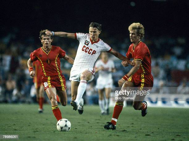 1st July 1982 1982 World Cup Finals in Spain USSR 1 v Belgium 0 in Barcelona Russia's Oleg Blokhin fends off a challenge from Belgium's Ludo Coeck...