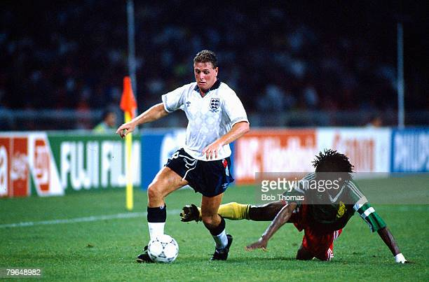 1st July 1990 World Cup Finals Quarter Final in Naples England 2 v Cameroon 3 aet England's Paul Gascoigne beats a Cameroon defender