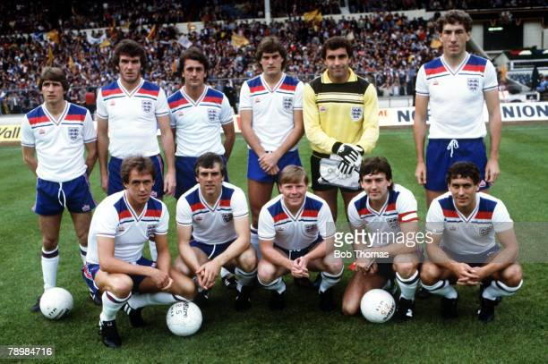 1st June 1983British Championship Wembley England vs Scotland England back row left right Gordon Cowans Peter Withe Trevor Francis Glenn Hoddle Peter...