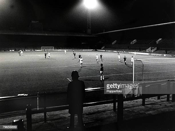 1st October 1980 European Cup Winners Cup at Upton Park A policeman watches the action in the empty stadium as West Ham United play Castilla behind...