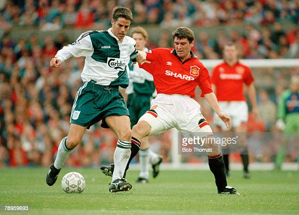 1st October 1995 FACarling Premiership Manchester United 2 v Liverpol 2 Liverpool's Jamie Redknapp left in a battle for the ball with Manchester...
