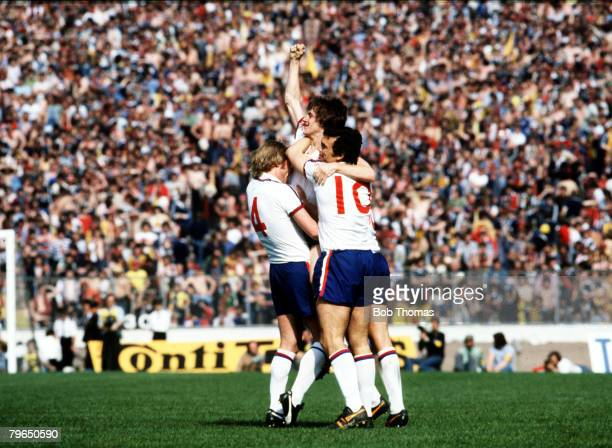 20th May 1978 British Championship GlasgowScotlandv England England's Steve Coppell has scored the winning goal and is held aloft by Brian Greenhoff...