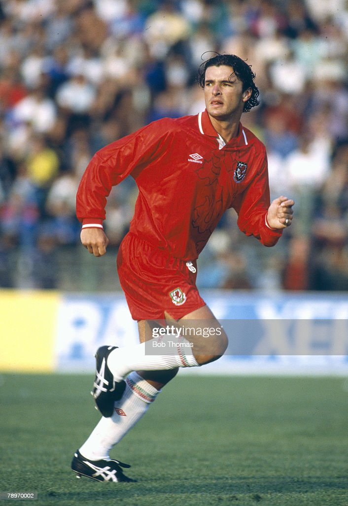 Sport. Football. pic: 20th May 1992. World Cup Qualifier in Bucharest. Romania 5 v Wales 1. Gary Speed, Wales midfielder, who won 73 Wales international caps between 1990-2003. : News Photo