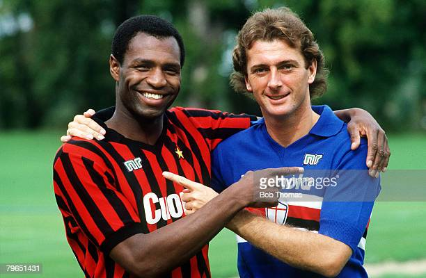 20th September 1983 Luther Blissett of AC Milan and Trevor Francis of Sampdoria show off their club strips as England's Italian exiles prepare for an...