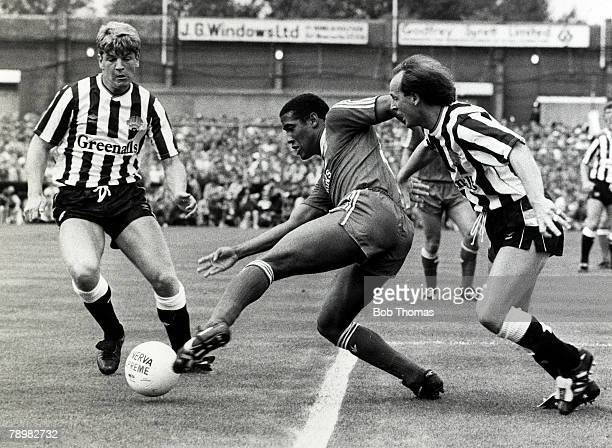 20th September 1987 Division 1 Newcastle United 1v Liverpool 4 Liverpool's John Barnes evades Newcastle United's Glyn Hodges left and David McCreery...