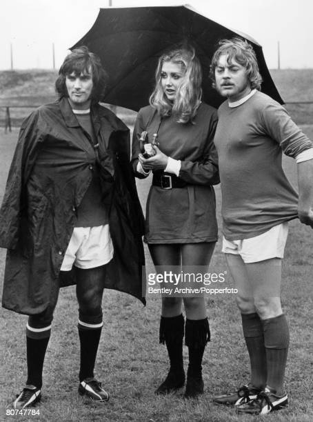 """21st August 1970, Manchester United and Northern Ireland """"superstar"""" George Best pictured with British actor Hywel Bennett and the attractive Penny..."""