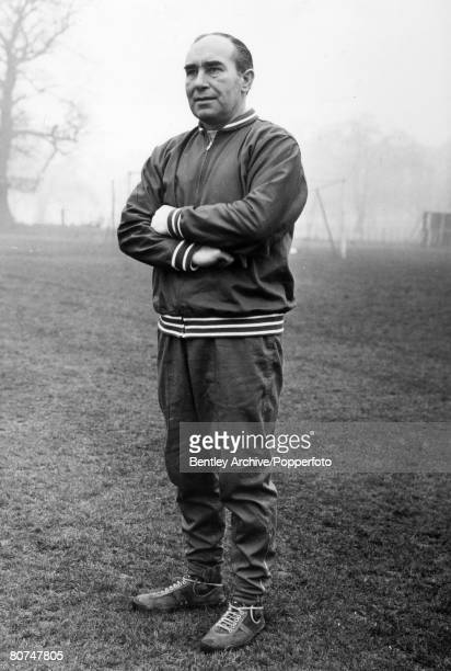 21st February 1968 England Manager Alf Ramsey in tracksuit watches over training at Lilleshall