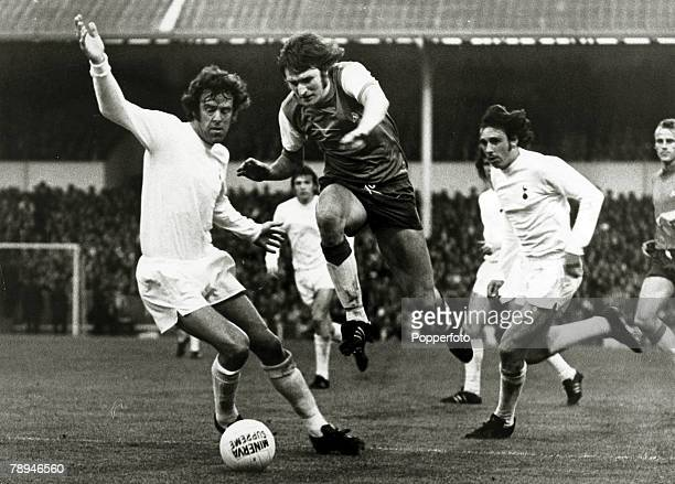 21st May 1974, UEFA,Cup Final, Ist Leg, Tottenham Hotspur 2, v Feyenoord 2, Feyenoord forward Theo De Jong jumps past a challenge from Tottenham...