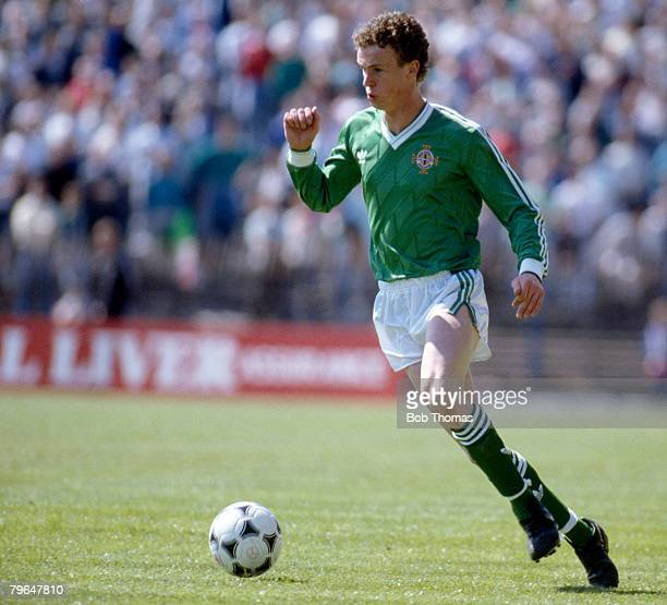 21st May 1988 World Cup Qualifier in Belfast Northern Ireland 3 v Malta 0 Michael O'Neill Northern Ireland who won 31 Northern Ireland caps between...