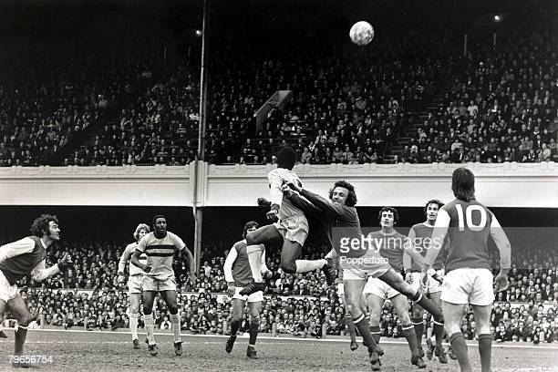 22nd April 1972 Division 1 Arsenal v West Ham United at Highbury Arsenal goalkeeper Geoff Barnett punches clear to end a Hammers attack