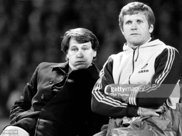 22nd April 1981, UEFA,Cup Semi-Final, 2nd Leg, FC,Cologne 0 v Ipswich Town 1, Ipswich Town win 20 on agg, Ipswich Town Manager Bobby Robson with his...