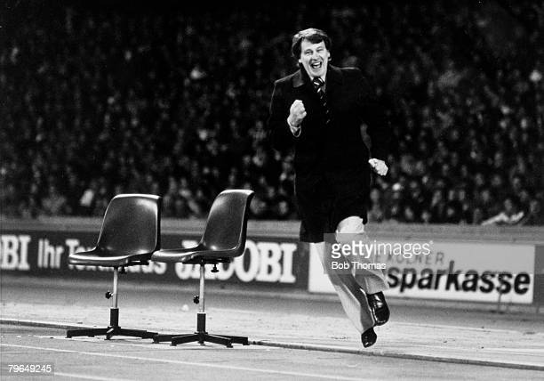 22nd April 1981 UEFACup SemiFinal 2nd Leg FC Cologne 0 v Ipswich Town 1 Ipswich Town Manager Bobby Robson celebrates after Terry Butcher had scored...