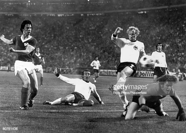 22nd June 1974 1974 World Cup Finals in Germany Hamburg Group Match East Germany 1 v West Germany 0 East Germany's Jurgen Sparwasser left shoots past...