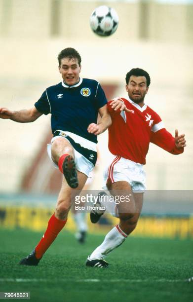 22nd March 1988 Friendly International in Valetta Malta 1 v Scotland 1 Ally McCoist Scotland left contests the ball with Malta's Alex Azzopardi Ally...