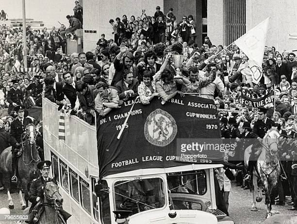 22nd May 1971 London The triumphant Chelsea football team in an open topped bus parade the European Cup Winners Cup along the King's Road in front of...