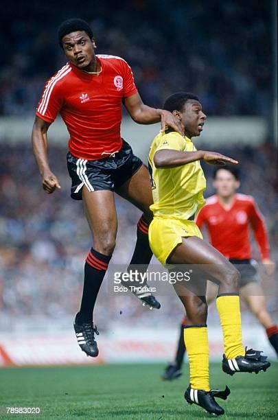 22nd May 1982, FA, Cup Final at Wembley, Tottenham Hotspur 1 v Queen Park Rangers 1, a,e,t, Queens Park Rangers' Bob Hazell jumps above Tottenham...