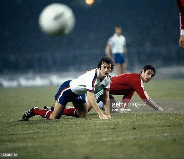 22nd November 1979 European Championship Qualifier at Wembley England 2 v Bulgaria 0 England striker Trevor Francis and Bulgaria's Georgi Dimitrov...