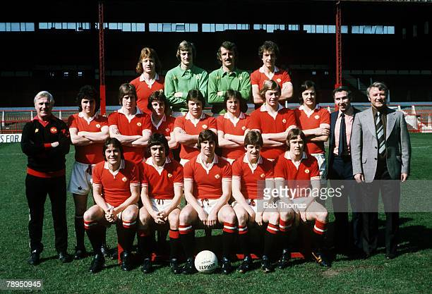 23rd April 1976 Manchester United showing the squad that were to be picked from for the 1976 FACup Final team Back row leftright Jimmy Nicholl Paddy...
