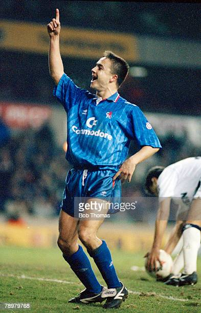 23rd January 1991 Rumbelows Cup Quarter Final Tottenham Hotspur 0 v Chelsea 3 Chelsea's Dennis Wise celebrating after scoring the 1st goal Dennis...