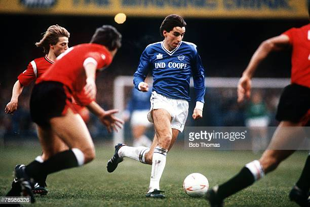 23rd November 1985 Division 1 Leicester City 3 v Manchester United 0 Leicester City striker Alan Smith takes on three Manchester United players