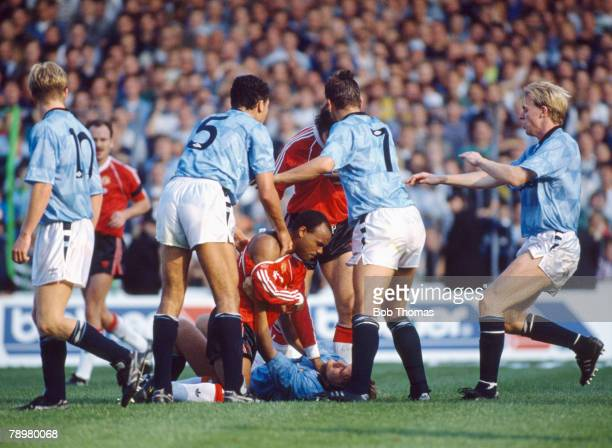 23rd September 1989 Division 1 Manchester City 5 v Manachester United 1 Manchester United's Danny Wallace grabs Manchester City's Andy Hinchcliffe...