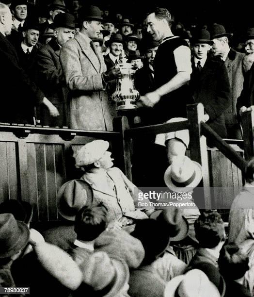 24th April 1920, 1920 FA, Cup Final at Stamford Bridge, Aston Villa 1 v Huddersfield Town 0, after extra time, Aston Villa captain Andrew Ducat...