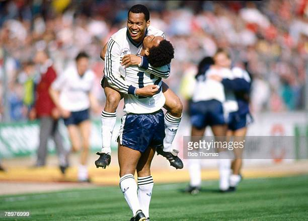 24th April 1988 Littlewoods Cup Final at Wembley Arsenal 2 v Luton Town 3 Luton Town's Mark Stein hugs his brother Brian who scored 2 goals including...