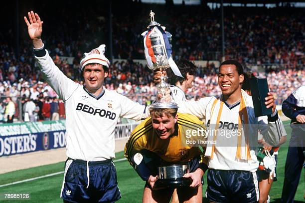 24th April 1988 Littlewoods Cup Final at Wembley Arsenal 2 v Luton Town 3 Luton Town's leftright Steve Foster Andy Dibble and Brian Stein with the...