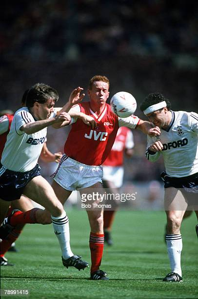 24th April 1988 Littlewoods Cup Final at Wembley Arsenal 2 v Luton Town 3 Arsenal's Perry Groves battles for the ball with Luton Town's Mal Donaghy...