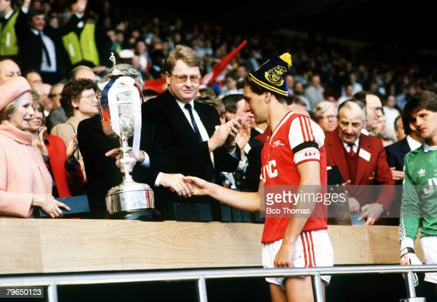 24th April 1988 Littlewoods Cup Final at Wembley Arsenal 2v Luton Town 3 Arsenal captain Tony Adams about to be presented with his losers medal with...