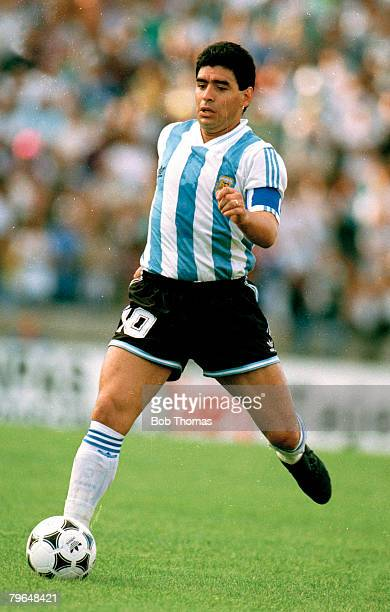 24th February 1993, Friendly International, Argentina 6 v Denmark 5, Diego Maradona, Argentina, Diego Maradona won 91 Argentina international caps...