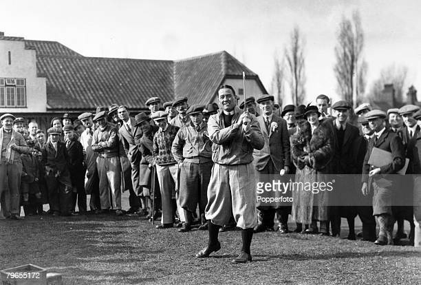 24th March 1935 Mitcham Surrey Arsenal's Scottish international footballer Alex James taking part in a invitation golf tournament