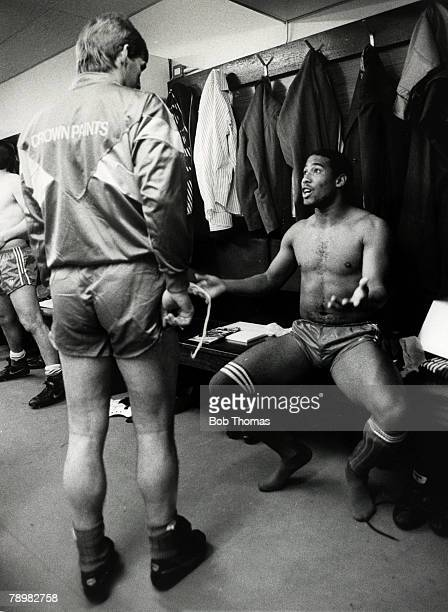 24th November 1987 Division 1 Liverpool 4 v Watford 0 Liverpool's John Barnes talking to Manager Kenny Dalglish in the dressing room before the match...
