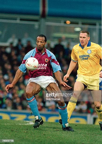 24th November 1991 Division 1 Aston Villa 1 v Leeds United 4 Aston Villa's Cyrille Regis moves away from Leeds United's John McClelland Cyrille Regis...