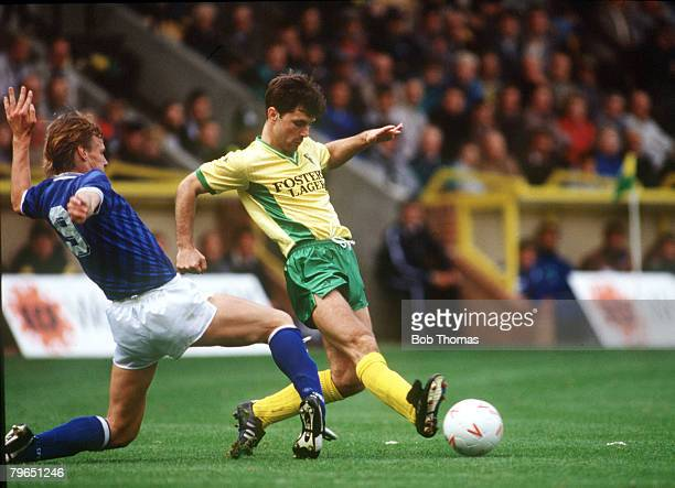 24th September 1988 Division 1 Norwich City 2 v Millwall 2 Norwich City's Mark Bowen challenged by Millwall's Teddy Sheringham