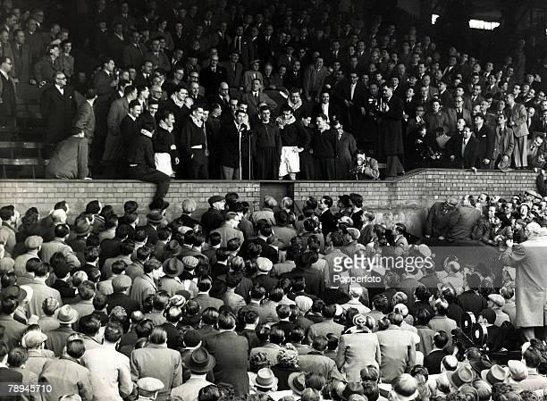 25th April 1955 Chelsea Manager Ted Drake speaks to the large crowd after Chelsea had clinched the League Championship after beating Sheffield...