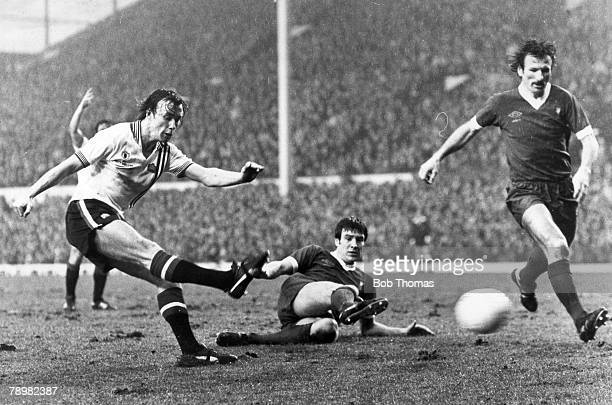 25th February 1978 Division 1 Liverpool 3 v Manchester United 1 Manchester United's Sammy McIlroy left shoots to score his sides only goal past...