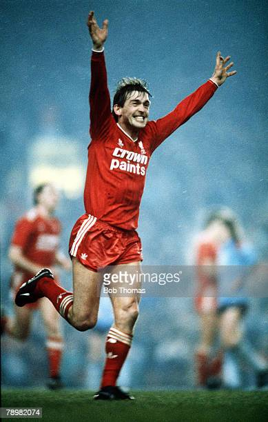 25th February 1987 Littlewoods Cup SemiFinal 2nd Leg Liverpool 3 v Southampton 0 Liverpool win 30 on agg Liverpool's Player/Manager Kenny Dalglish...