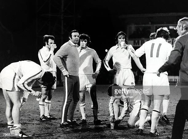 25th March 1975 FACup 6th Round 2nd replay at Filbert Street Leicester Ipswich Town 0 v Leeds United 0 Leeds United Manager Jimmy Armfield talking to...
