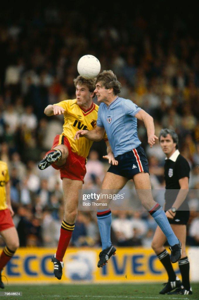 25th September 1982, Division 1, Watford v Sunderland, Sunderland's Ally McCoist, right, jumps with Watford's Kenny Jackett, Ally McCoist won 61 Scotland international caps between 1986-1999