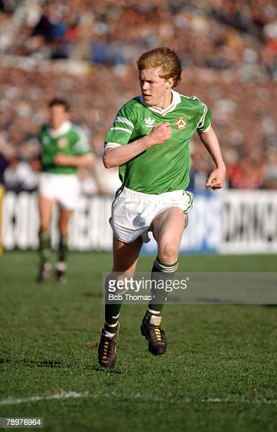 26th April 1989 World Cup Qualifier in Dublin Republic of Ireland 1 v Spain 0 Steve Staunton Republic of Ireland full back who won 102 Republic of...