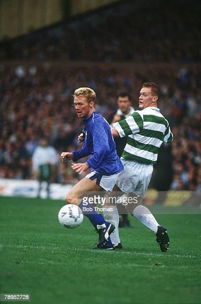 26th August 1989 Scottish Premier Division Celtic 1 v Rangers 1 Rangers striker Maurice Johnston moves past Celtic's Mike Galloway Maurice Johnston...
