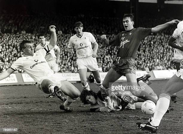 26th December 1989 Division 1 Crystal Palace 2 v Chelsea Chelsea goalkeeper Dave Beasant and defender Graham Roberts combine to stop Crystal Palace's...