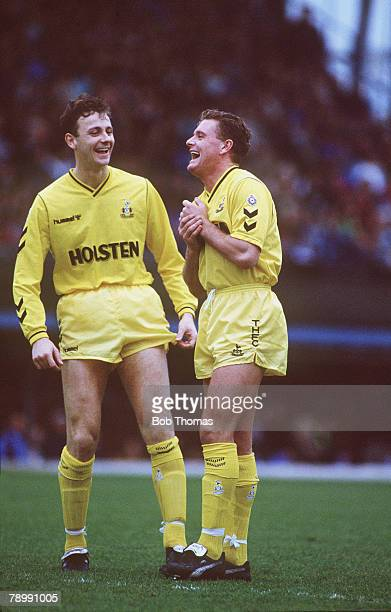 26th December 1990 Division 1 Coventry City 2v Tottenham Hotspur 0 Tottenham Hotspur's Paul Gascoigne shares a joke with teammate Steve Sedgley
