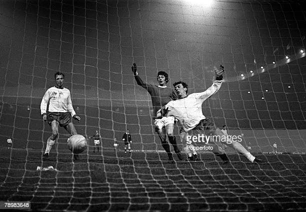 26th February 1969 European Cup 3rd Round 1st Leg Manchester Unitedv Rapid Vienna Manchester United's Willie Morgan on hand as Manchester United...