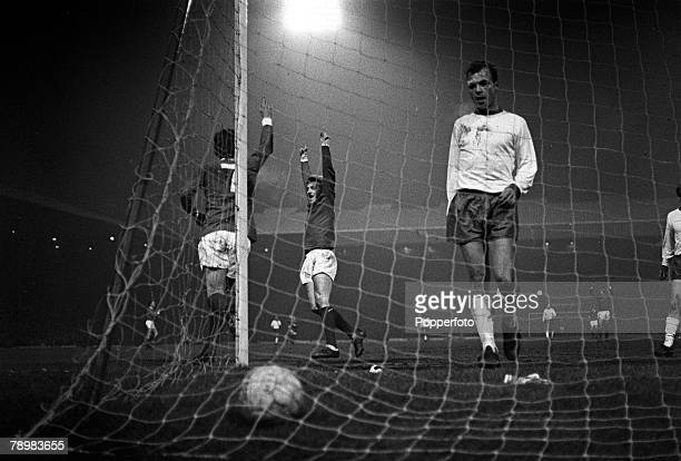 26th February 1969 European Cup 3rd Round 1st Leg Manchester Unitedv Rapid Vienna Manchester United's Willie Morgan and Denis Law celebrating a goal...